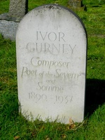 Ivor Gurney, poet and compser, was born on 28 August 1890 in Gloucester and baptised at All Saints Church. He was accepted for a choral scholarship at Gloucester Cathedral and was educated at the King's School. He served in the Glosters during WWI after which he suffered with depression, being admitted to an asylum. He died on 26 December 1937, aged 47 and is buried in Twigworth churchyard. He wrote some 1,500 poems in his lifetime.