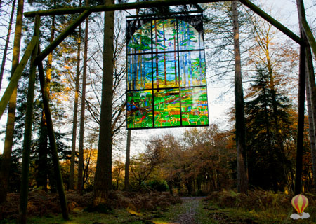 Stained glass window on the Sculpture Trail, Forest of Dean